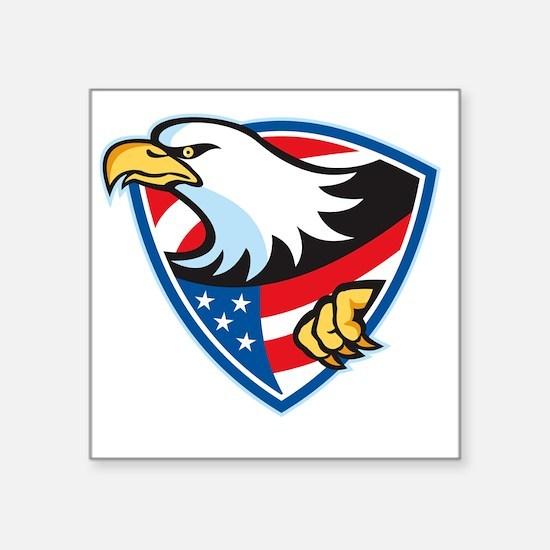 """American Bald Eagle Flag Sh Square Sticker 3"""" x 3"""""""