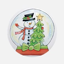 Cartoon Christmas Snow Globe Snowma Round Ornament