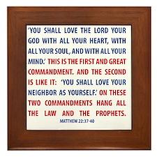The Greatest Commandment Framed Tile