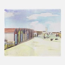 The Beach Huts at Blyth Throw Blanket