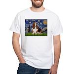 Starry Night & Basset White T-Shirt