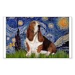 Starry Night & Basset Sticker (Rectangle)