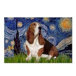 Starry Night & Basset Postcards (Package of 8)