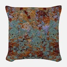 Rustic Rock Lichen Texture Woven Throw Pillow