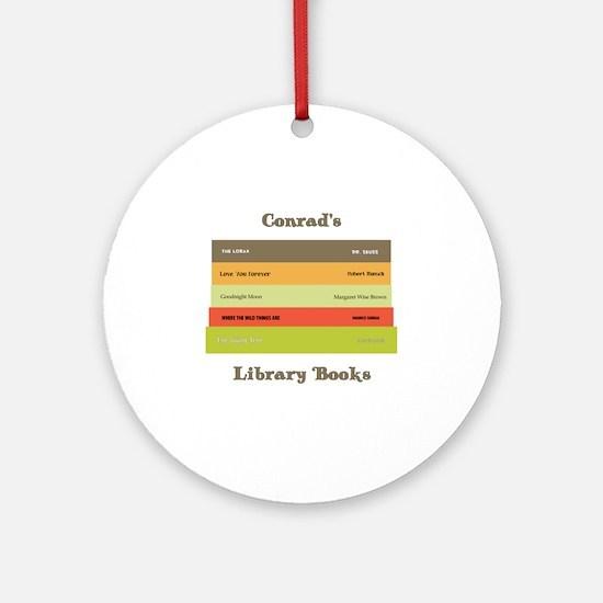 Library Books Tote Conrad Round Ornament