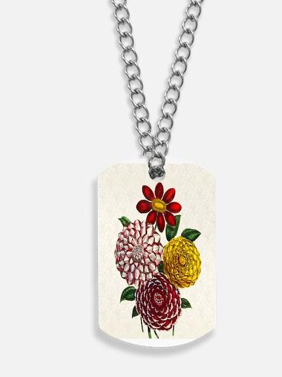 Dahlia Flowers Dog Tags