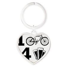 I Bike 4 Beer Heart Keychain