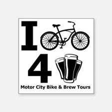"I Bike 4 Beer Square Sticker 3"" x 3"""