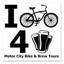 "I Bike 4 Beer Square Car Magnet 3"" x 3"""