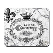 Vintage french shabby chic key collage Mousepad