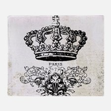 Vintage french shabby chic crown Throw Blanket