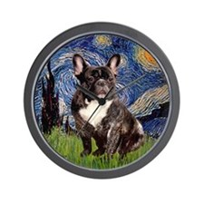 Starry-Brindle French Bulldog Wall Clock