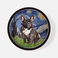 Starry-Brindle French Bulldog Wall Clock