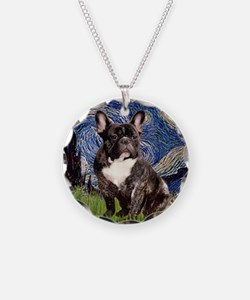 Starry-Brindle French Bulldo Necklace Circle Charm