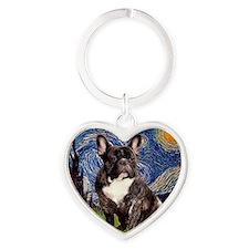 Starry-Brindle French Bulldog Heart Keychain