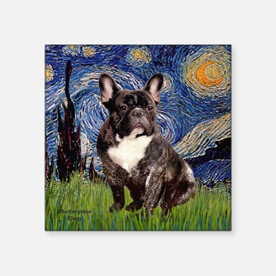 "Starry-Brindle French Bulld Square Sticker 3"" x 3"""
