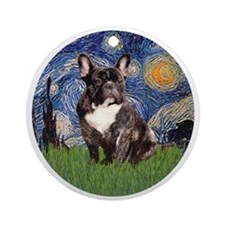 Starry-Brindle French Bulldog Round Ornament