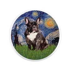 "Starry-Brindle French Bulldog 3.5"" Button"