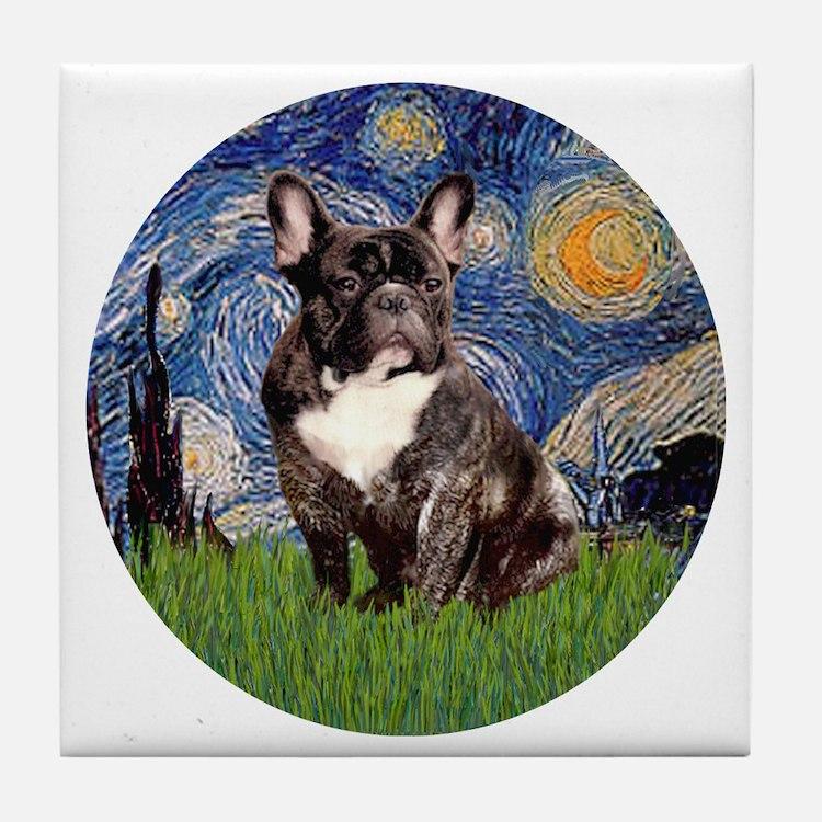 Starry-Brindle French Bulldog Tile Coaster