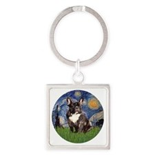 Starry-Brindle French Bulldog Square Keychain