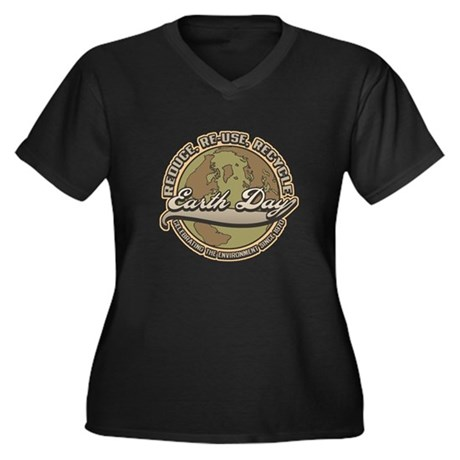 Classic Earth Day Womens Plus Size V-Neck Dark Tee