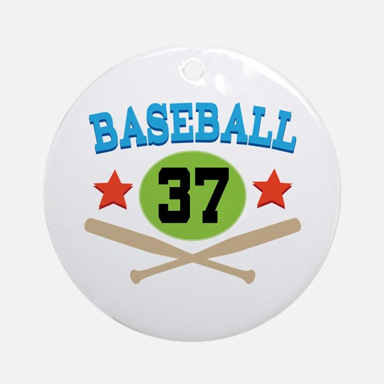Baseball Player Number 37 Ornament (Round)
