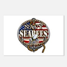 US Navy Seabees Anchor Flag s Postcards (Package o