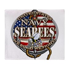 US Navy Seabees Anchor Flag s Throw Blanket