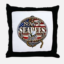 US Navy Seabees Anchor Flag s Throw Pillow