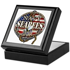 US Navy Seabees Anchor Flag s Keepsake Box