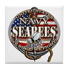 US Navy Seabees Anchor Flag s Tile Coaster