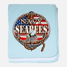 US Navy Seabees Anchor Flag s baby blanket