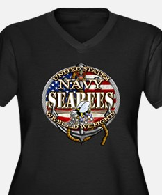 US Navy Seabees Anchor Flag s Plus Size T-Shirt