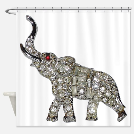 Vintage Rhinestone Elephant Shower Curtain