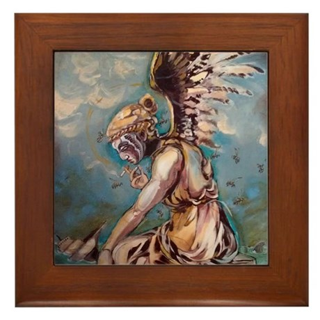 Angel of Throwing Caution into the Win Framed Tile