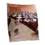 A Game of Chess Burlap Throw Pillow