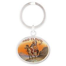 Vintage Cigar Label Art; Red Cloud I Oval Keychain