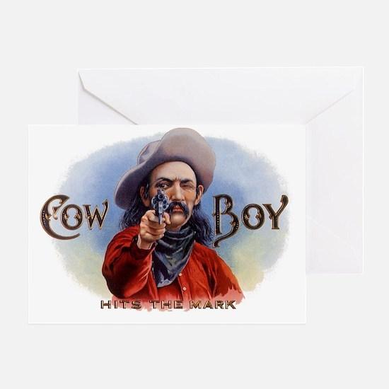 Vintage Cigar Label Art, Cowboy Hits Greeting Card