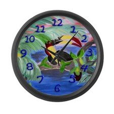 Toucan in the Rainforest Large Wall Clock