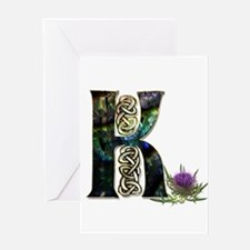 K Initial Celtic Thistle Greeting Cards