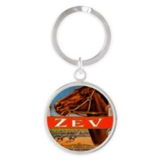 Vintage Cigar Label with Racing Hor Round Keychain