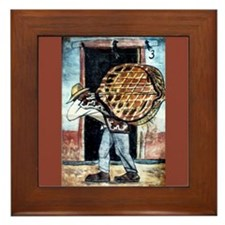 Diego Rivera Art Framed Tile Man Carrying Baskets