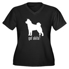 Akita 2 Women's Plus Size V-Neck Dark T-Shirt