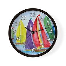 Colorful Regatta Sails Wall Clock
