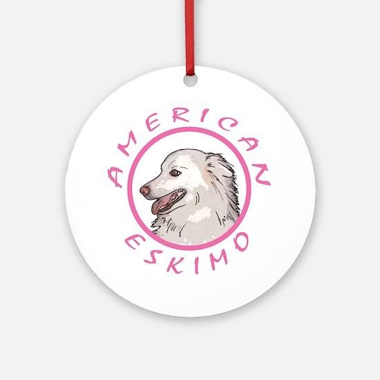 american Eskimo Pink Ornament (Round)