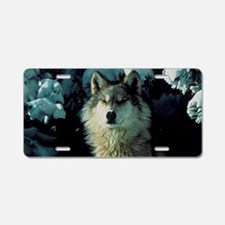 Snow Wolf Aluminum License Plate