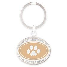 3-Dog Walker Aussiedoodle-B Oval Keychain