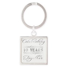 Celebrating 10 Years Together Square Keychain