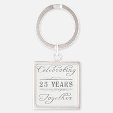 Celebrating 25 Years Together Square Keychain