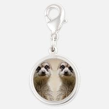 Meerkat Silver Round Charm